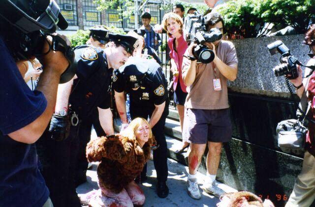 Newkirk being arrested at Vogue Magazine fur protest (credit: Ebet Roberts)