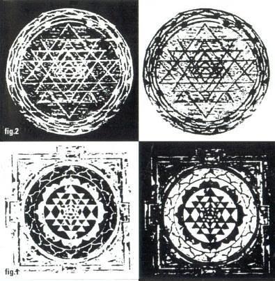 A cymatic created sri yantraa; a mystical diagram in Hindu tantra.