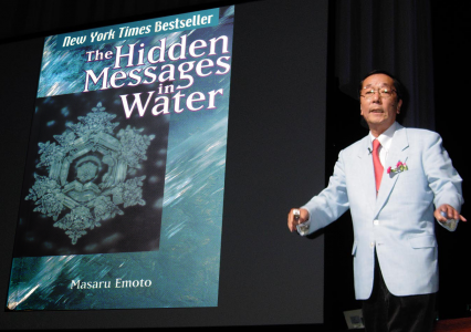 Author and lecturer Masaru Emoto during a lecture.