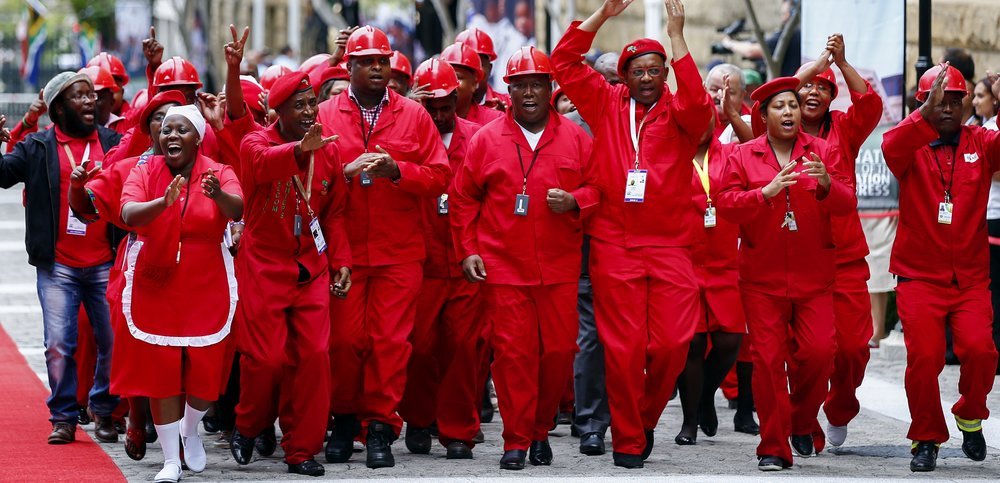 The EFF preparing for a parliamentary attendance in 2016  . (Credit: Reuters)