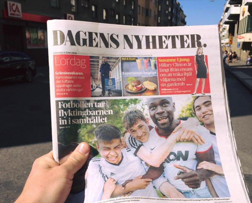 """DN trycker Tillsammans Cup på framsidan - 4 Juni  """"Fotbollen tar flyktingbarnen in i samhället"""""""