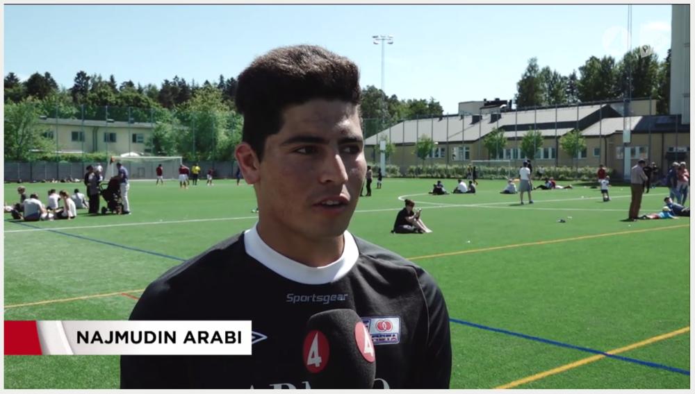 Inslag på 19-nyheterna om Tillsammans Cup, personporträtt av Najmudin Arabi