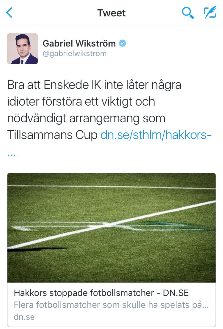 Tweet från idrottsministern på dagen innan Nationaldagen och Tillsammans Cup 2016