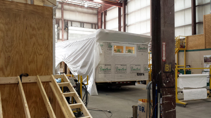 prefab unit wrapped to ship