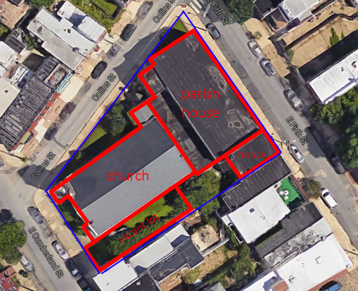 The overall site is marked in blue; individual buildings in red.
