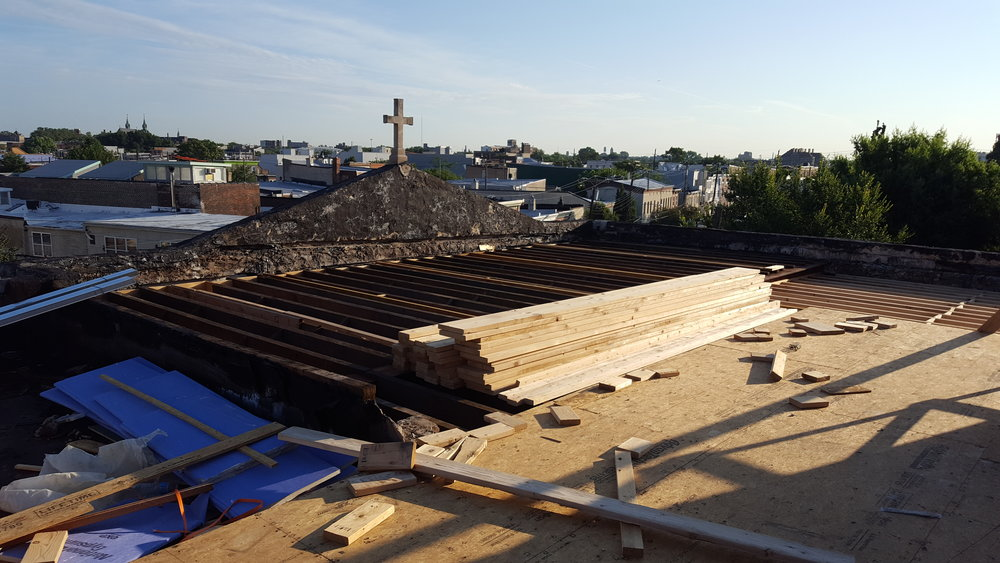 View from the rooftop of the original building, before the third-floor additions were built.