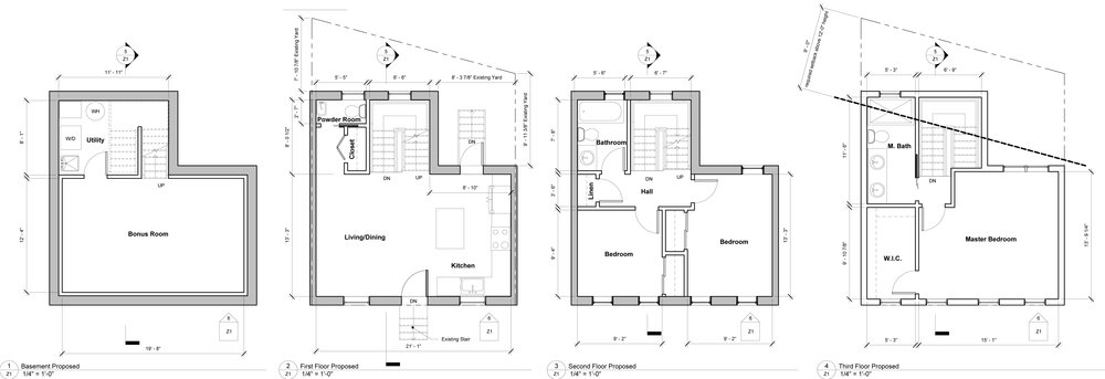 The new plans. Finished basement, living space on the first floor, two bedrooms and a bathroom on the second floor, and a master suite on the third.
