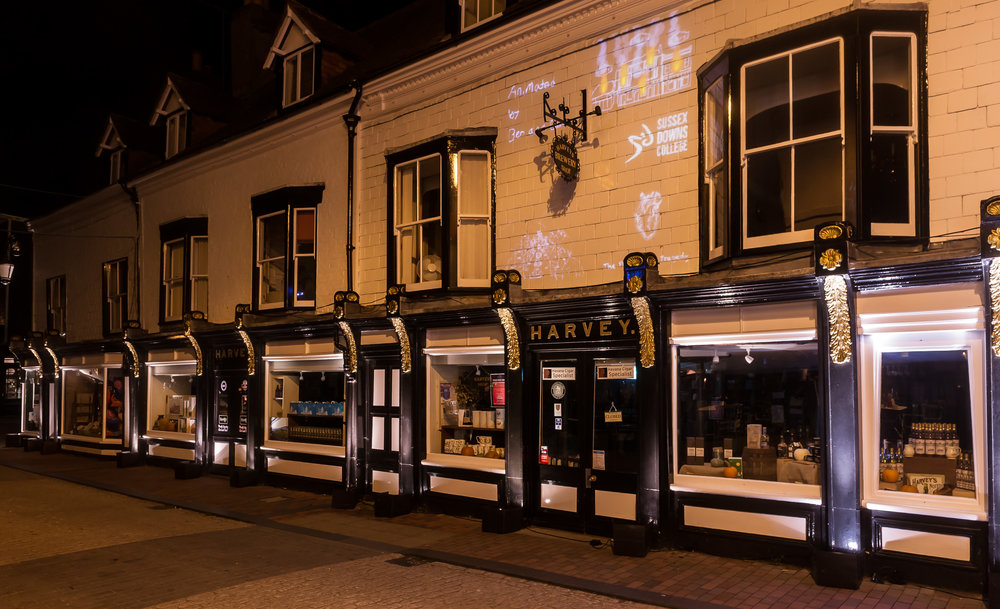 The Brewery shopfront sits proudly on the Cliffe High street, adorning beautiful gilded façade features, these are softly highlighted in warm white light allowing the grandeur of the shot front to come to life.
