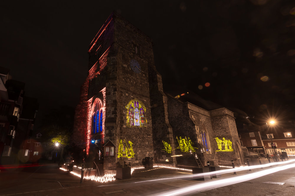Karen van Creveld's installation of Church of St Thomas a Becket is an immersive atmosphere through backlighting of the stained glass windows, projections, candlelight and sound.  It was a fantastic experience being part of the festival, we hope to take part again next year! James MaCauley Photography