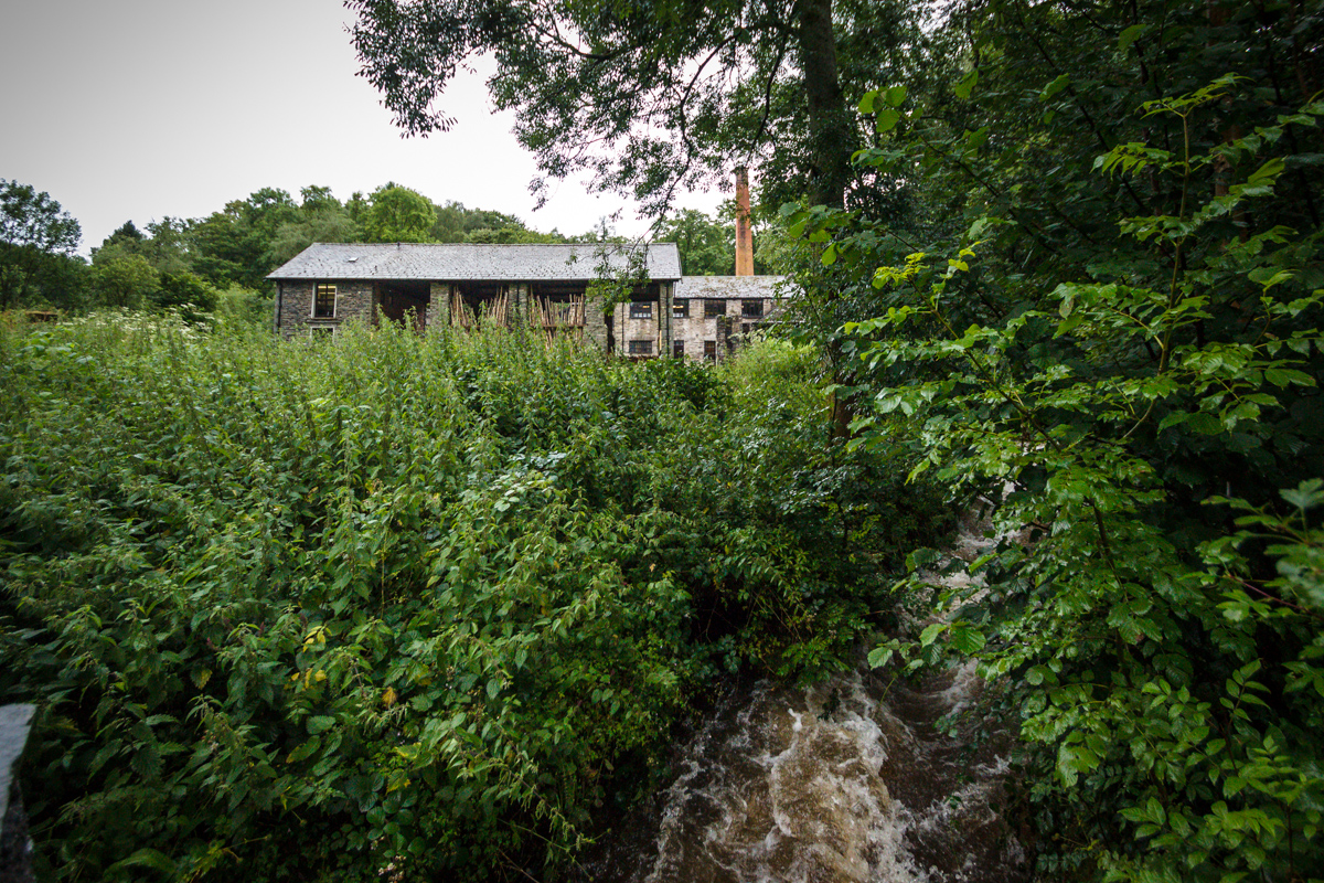 Stott Park Bobbin Mill and the raging stream