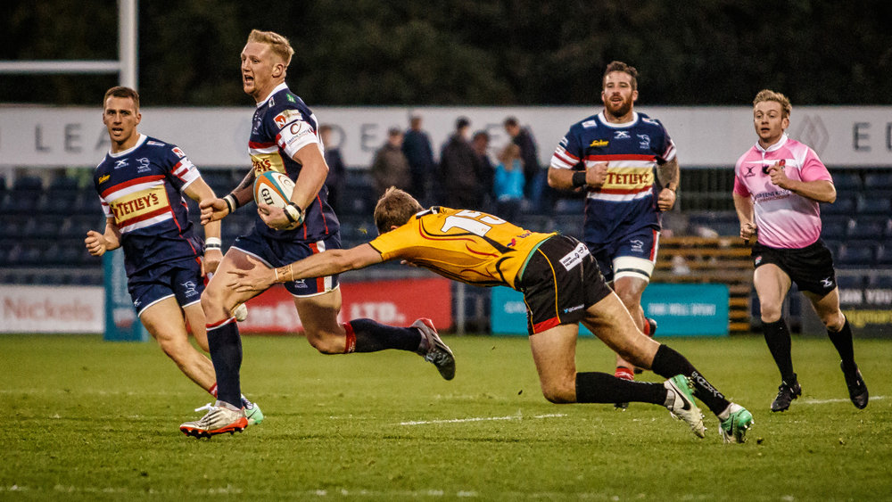 Lloyd Hayes races through for his man of the match try