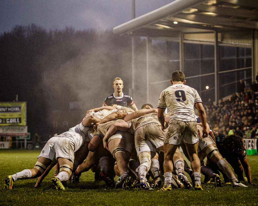 Behind the scrum on a bitterly cold night in January 2016, Rotherham Titans