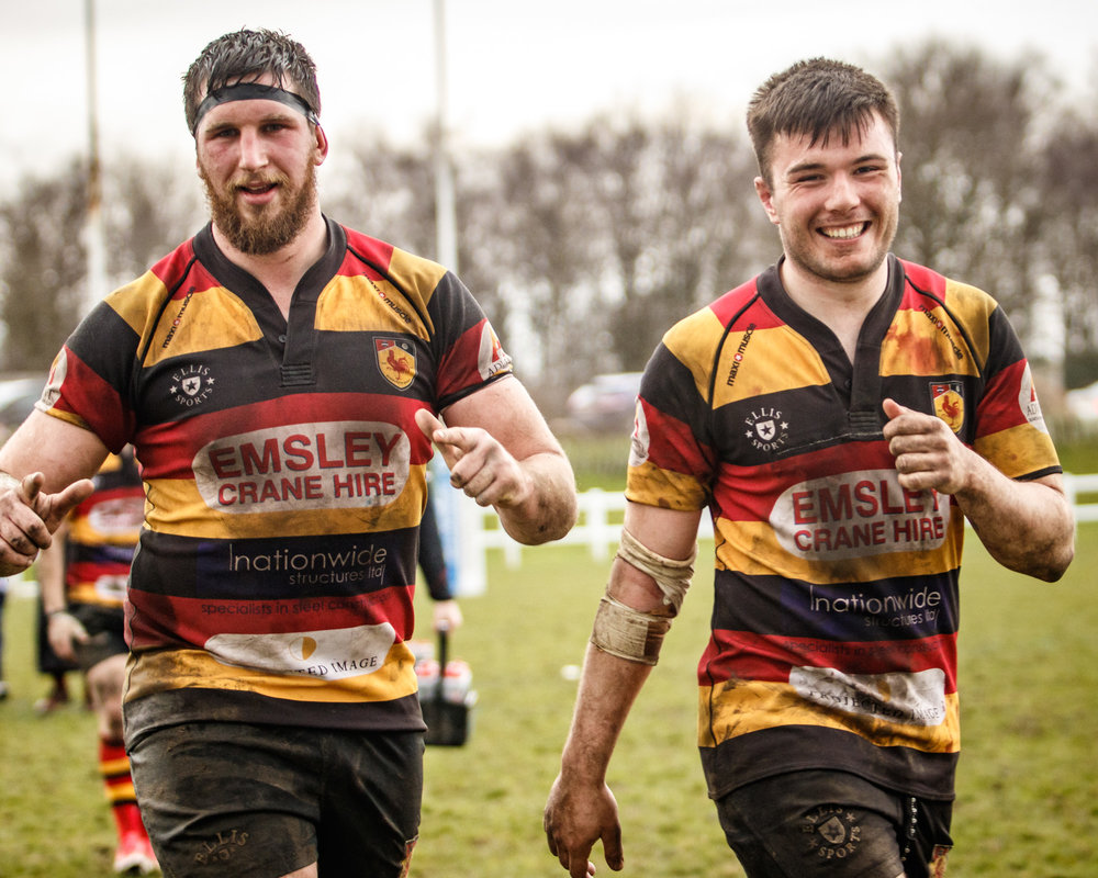 Harrogate's Sam Brady and Jonny Coser - happy with the win