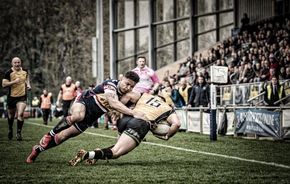 Possibly my favourite shot - Curtis Wilson was outstanding in attack and defence. His determined tackle here led to a Knights' linnet and a score. I've a cropped version on Instagram but I prefer this wider view with the squad and crowd watching every move