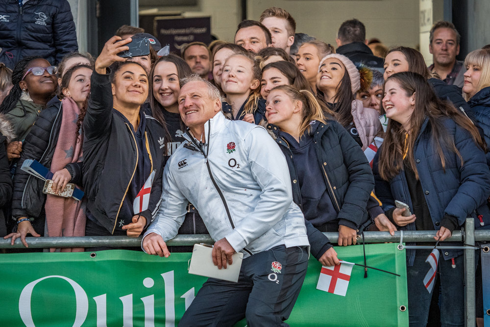 England coach Simon Middleton, just one of the many players and staff happy to pose for selfies
