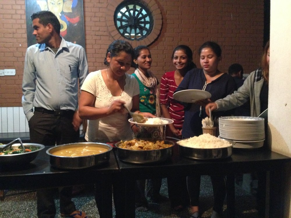Dinner together with 19 youth participants at Pasa Yard, Kathmandu