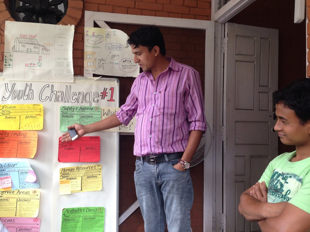 Vinod giving feedback of the well-received ideas and Rajesh (staff member) looking on