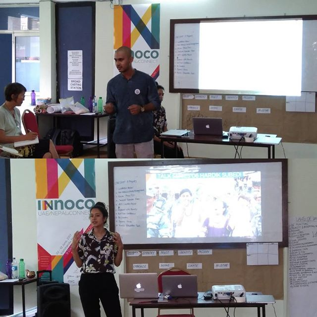 Our guests for the day, are the young change makers working at Himalayan Climate Initiative, Bivisika bhandari and Hardik subedi Day#7 #innoco #nyc #UAE_NEPAL_CONNECT #Himalayan_Climate_Initiative #nepal_innovation_center #zayed_university #LC #innovation #UNC2017 #social_innovation #bootcamp #codesign #connect #collaborate #contribute