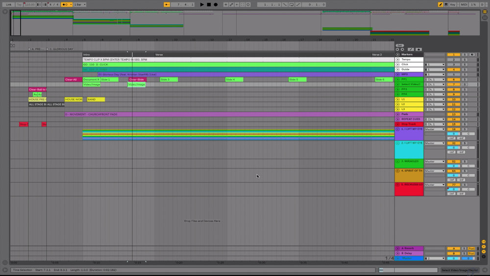 Pictured: The Ableton Live timeline with our pre-service settings at the beginning. The rest of the songs and their cues are organized chronologically so you'll see them farther down.