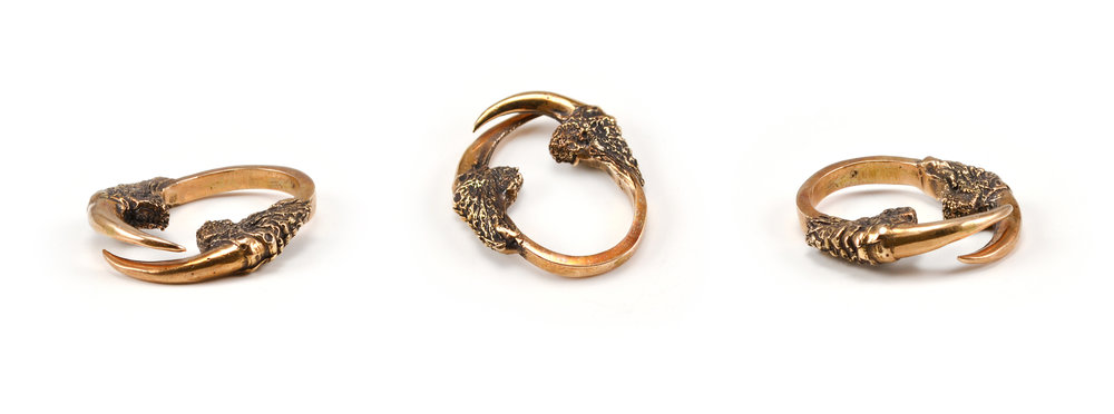 The Hunted II Double owl talon arch ring in bronze, $90.