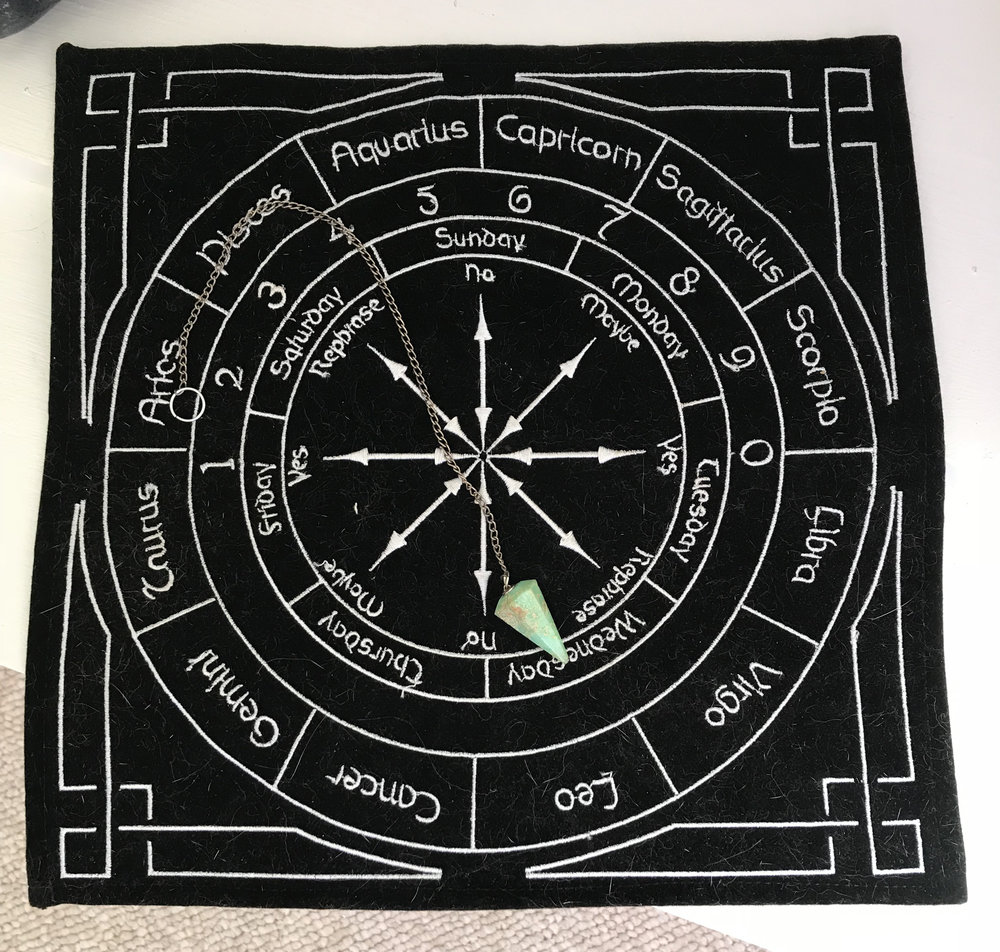 Divination cloth used for basic questions.  I used this when I was curious what Tallulah's sign would be.