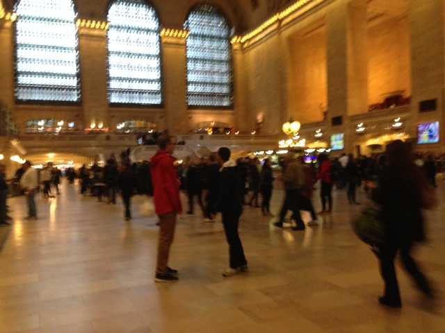 Waiting for the train at Grand Central Station.  Hundreds of trains are coming in and out of this station, making it an active hub and a great place to watch people.  Our Union Station can never rival a station like this or even South Station.  Union Station only has one line going in and out of Worcester to Boston.  We simply can't match the density of a Grand Central Station but increased train service can populate our station more fully.