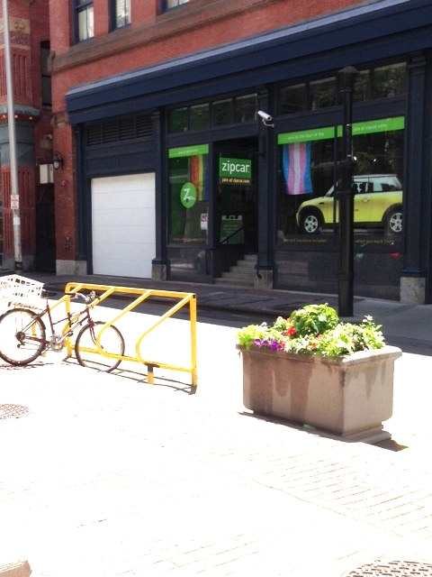 Only walkable and bikeable cities can support the existence of a Zipcar!  Note the bike racks next to the Zipcar office.  Worcester is so autocentric that it is hard to imagine we could support a Zipcar fleet.