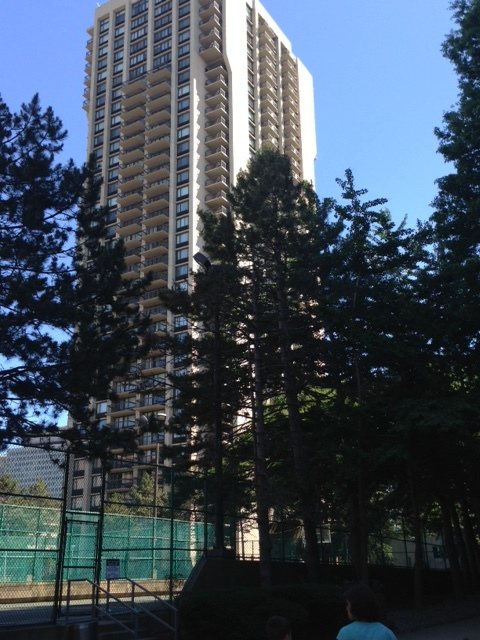 Tennis courts next to high rise provide recreational amenities for the wealthy.