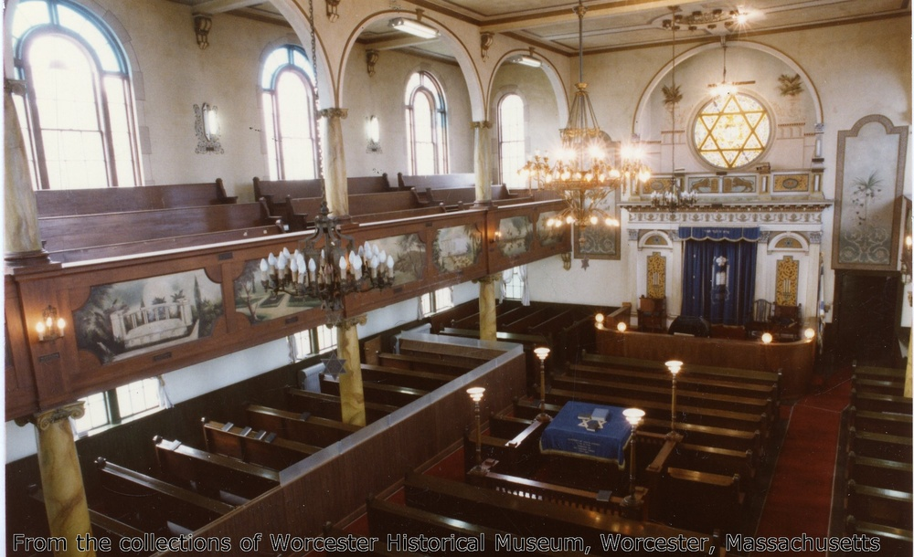 An interior shot of the holy sanctuary of Shaarai Torah.  Courtesy of Worcester Historical Musuem