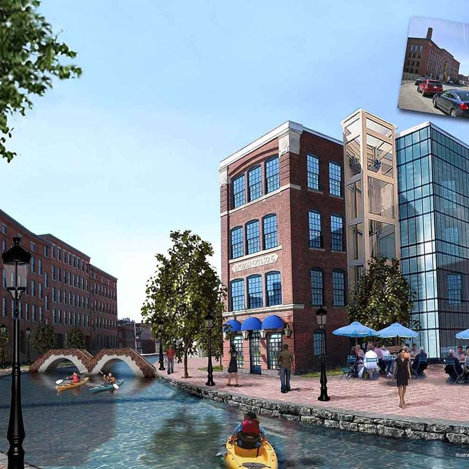 Artist's rendition of the Canal District once the Canal is replicated.  Public funding targeted towards this kind of infrastructure investment would serve as a catalyst to private development in the neighborhood. Providence, Rhode Island and San Antonio, Texas are just two cities that have experienced revival around waterways.  Why not Worcester?