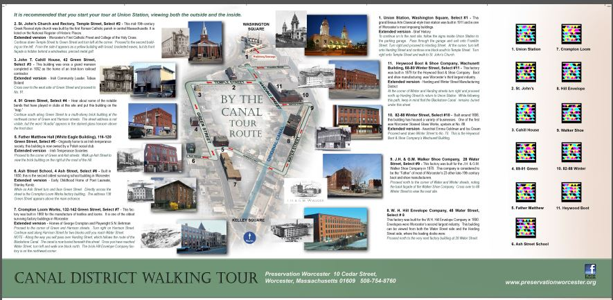 On  Preservation Worcester's  Canal District Walking Tour, Crompton Place (formerly Crompton Loom Works)  is stop #7.