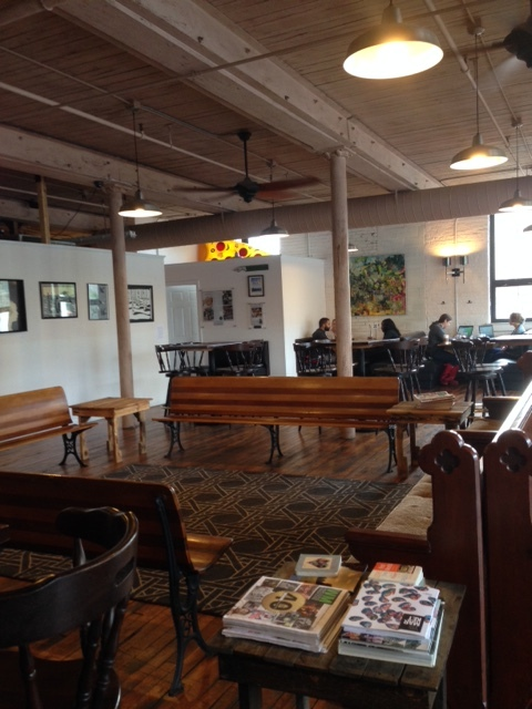 The space is large, the tone is relaxed, the couches are comfortable... a perfect community space.  Local musicians offer free concerts in this main room at Birch Tree.
