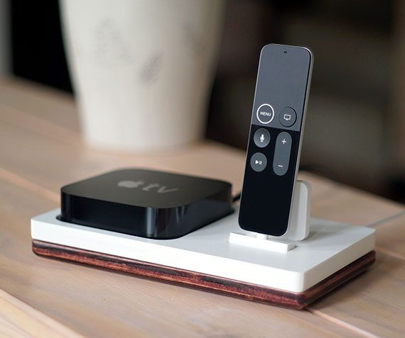 TVstnd 4K 1   Charges the Apple TV Remote (4th Gen & 4K Gen) with a base holder for the Apple TV unit! White and Midnight versions are within the listing.