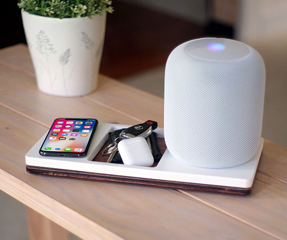 NytStnd HOMEPODS 4   Charges an iPhone 8, X, XS, XS Max & XR wirelessly with a HOMEPOD holder and a tray area for keys, wallet, etc! White and Midnight versions are within the listing.