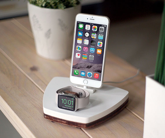 NytStnd DUO 1   Charges iPhone 5 & Up including XS, XS Max & XR and an Apple Watch! White and Midnight versions are within the listing.