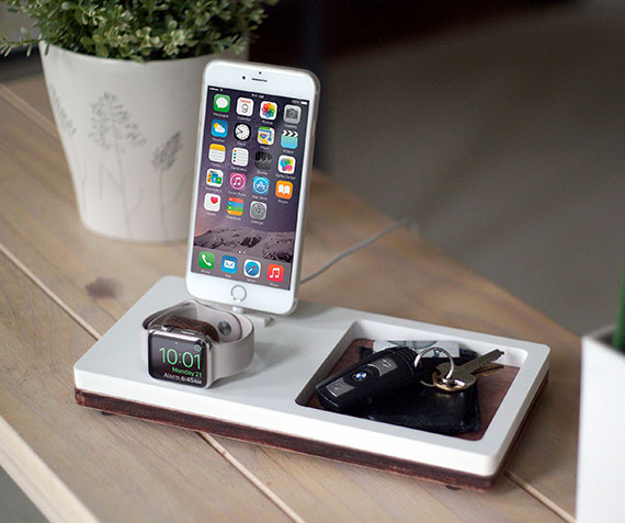 NytStnd TRAY 2   Charges iPhone 5 & Up including XS, XS Max & XR and an Apple Watch with a tray area for a wallet, keys, etc! White and Midnight versions are within the listing.