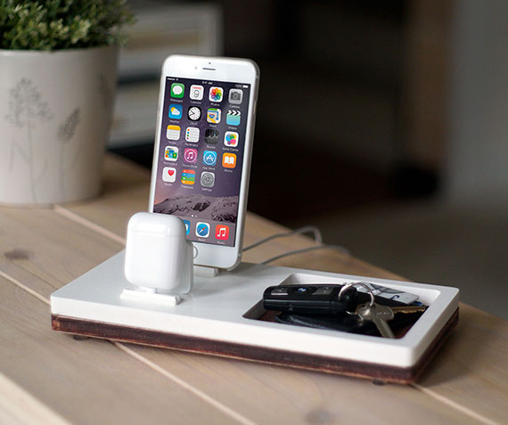 NytStnd AIRPODS 2   Charges iPhone 5 & Up including XS, XS Max & XR and an AirPods with a tray area for a wallet, keys, etc! White and Midnight versions are within the listing.