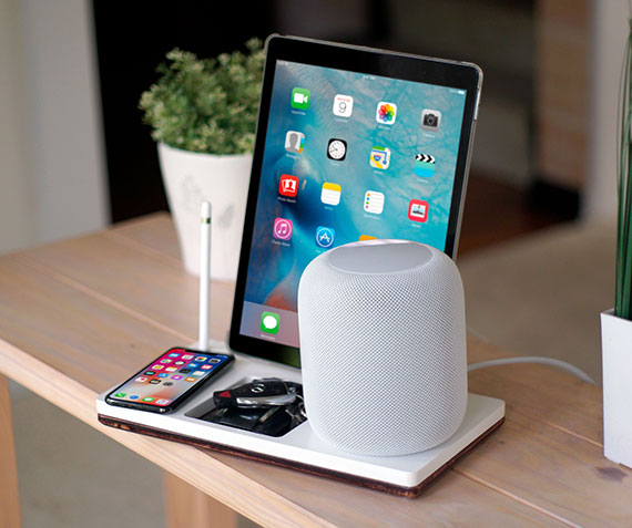NytStnd HOMEPODS 5   Charges an iPhone 8, X, XS, XS Max & XR wirelessly & an iPad with an HOMEPOD holder and Apple Pencil Holder with a tray area for keys, wallet, etc! White and Midnight versions are within the listing.