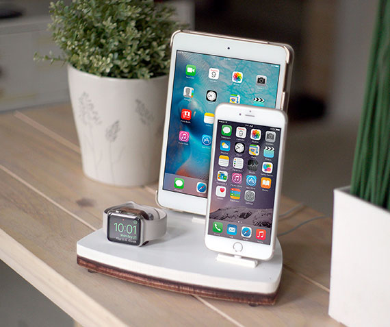 NytStnd TRIO 1   Charges an iPhone 5 & Up including 8, X, XS, XS Max & XR, Apple Watch, & an iPad! White and Midnight versions are within the listing.