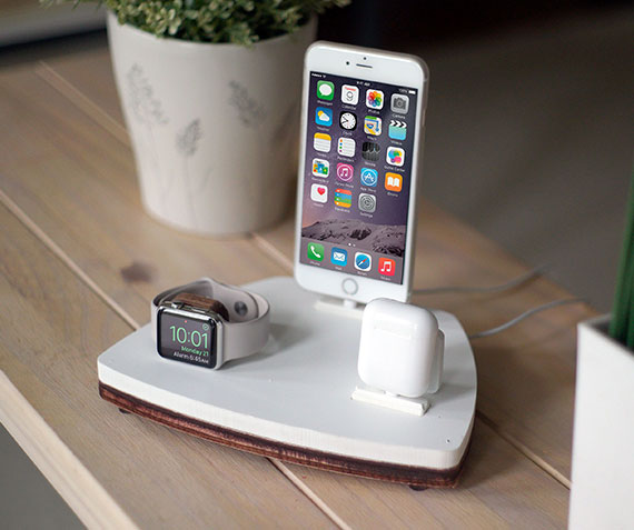 NytStnd AIRPODS TRIO 1   Charges an iPhone 5 & Up including 8, X, XS, XS Max & XR, Apple Watch, & AirPods! White and Midnight versions are within the listing.