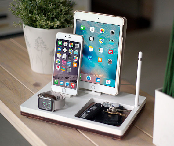 NytStnd TRAY 3   Charges an iPhone 5 & Up including 8, X, XS, XS Max & XR, Apple Watch, & an iPad with an Apple Pencil holder and tray area for keys, wallet, etc! White and Midnight versions are within the listing.