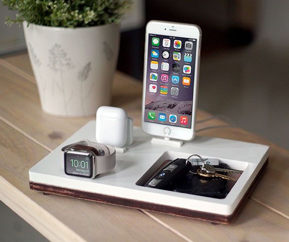 NytStnd AIRPODS TRIO 3   Charges an iPhone 5 & Up including 8, X, XS, XS Max & XR, Apple Watch, & AirPods with a tray area for keys, wallet, etc! White and Midnight versions are within the listing.