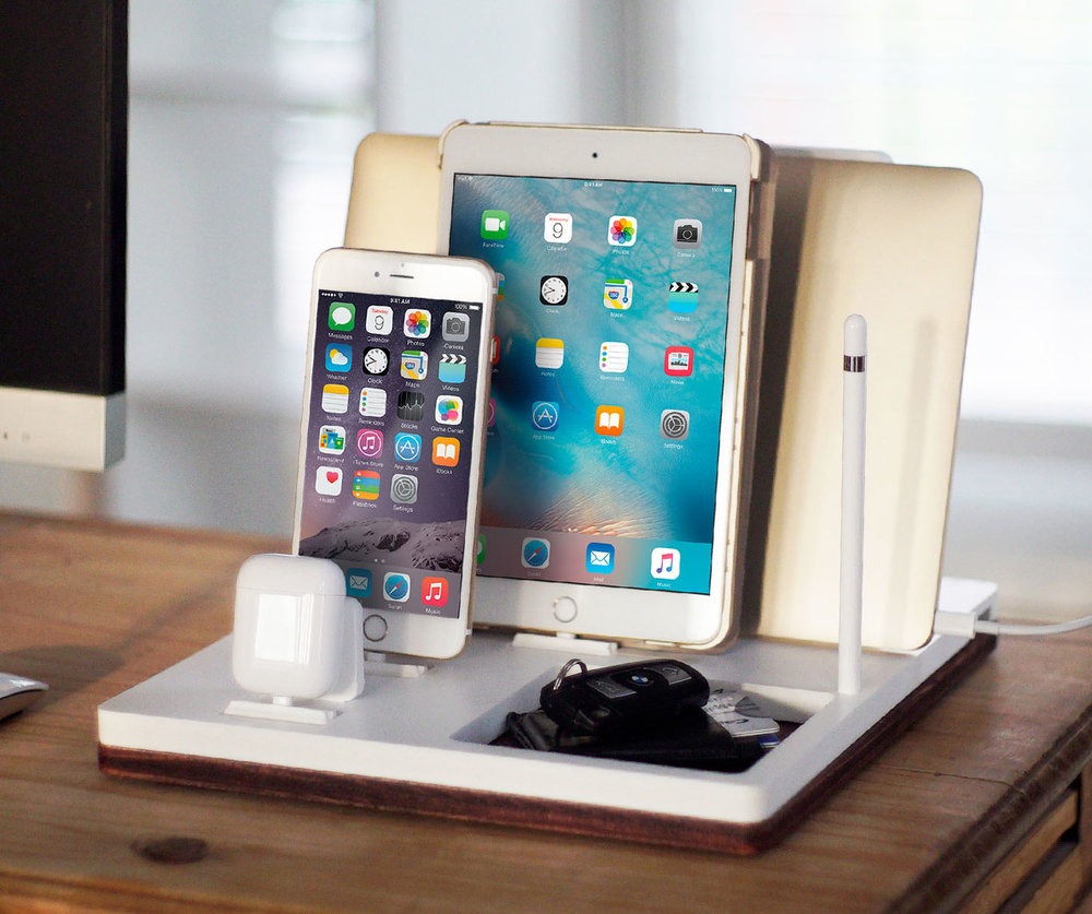 DskStnd TRIO 2   Charges an iPhone 5 & Up including 8, X, XS, XS Max & XR, AirPods, & an iPad with an Apple Pencil holder and tray area for keys, wallet, etc! White and Midnight versions are within the listing.