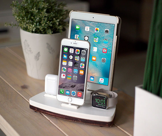 NytStnd QUAD   Charges an iPhone 5 & Up including 8, X, XS, XS Max & XR, Apple Watch, AirPods & an iPad! White and Midnight versions are within the listing.
