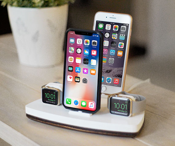 NytStnd COUPLES QUAD   Charges an two iPhone 5 & Up including 8, X, XS, XS Max & two Apple Watches! White and Midnight versions are within the listing.