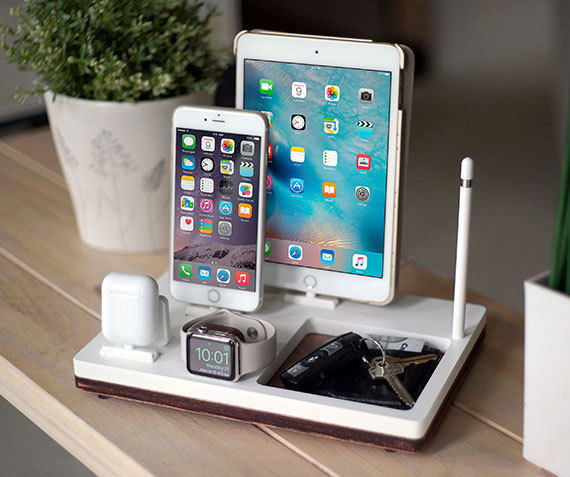 NytStnd TRAY 4   Charges an iPhone 5 & Up including 8, X, XS, XS Max & XR, Apple Watch, AirPods & an iPad with an Apple Pencil holder and tray area for keys, wallet, etc! White and Midnight versions are within the listing.