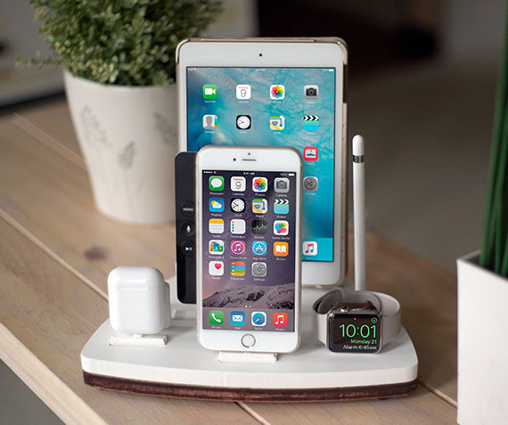NytStnd FIVE   Charges an iPhone 5 & Up including 8, X, XS, XS Max & XR, Apple Watch, AirPods, iPad, Apple TV Remote, Apple Pencil holder! White and Midnight versions are within the listing.
