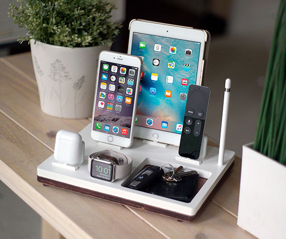 NytStnd TRAY 5   Charges an iPhone 5 & Up including 8, X, XS, XS Max & XR, Apple Watch, AirPods, iPad, Apple TV Remote, Apple Pencil holder, with a tray area for a wallet, keys, etc! White and Midnight versions are within the listing.