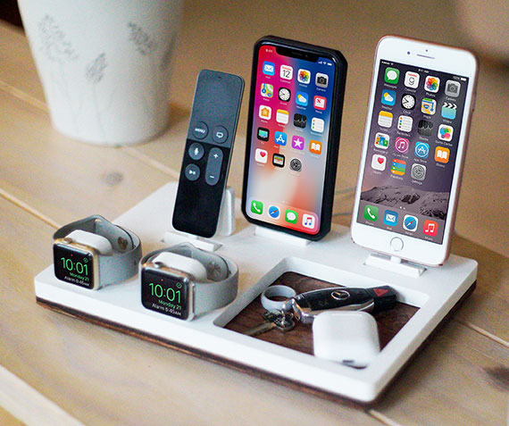 NytStnd COUPLES V   Charges two iPhone 5 & Up including XS, XS Max & XR, two iPad's, AirPods, two Apple Watches with a tray area for wallet, keys, etc! White and Midnight versions are within the listing.