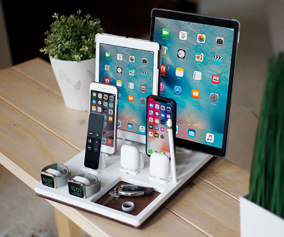 NytStnd COUPLES X   Charges two iPhone 5 & Up including XS, XS Max & XR, two iPad's, two AirPods, two Apple Watches, Apple TV remote, Apple Pencil holder with a tray area for wallet, keys, etc! White and Midnight versions are within the listing.